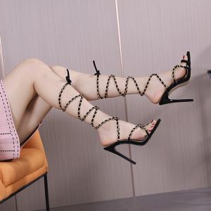 X-25268# 新款外贸链条细带罗马高跟凉鞋35-42 鞋子批发女鞋货源