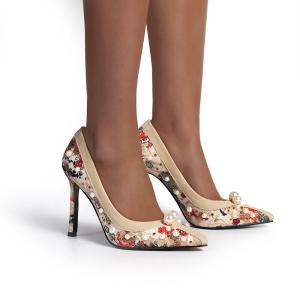 X-25271# 新款欧美外贸绣花重工蕾丝尖头高跟女鞋35-40 鞋子批发女鞋货源