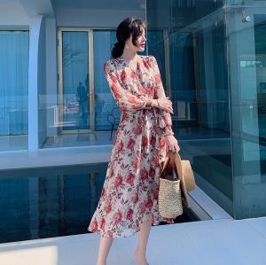 YF40551# 新款度假连衣裙露背沙滩裙印花雪纺长裙 服装批发女装直播货源