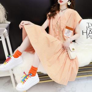 YF43031# 夏季显瘦洋气超仙v领条纹衬衫裙女 服装批发女装直播货源