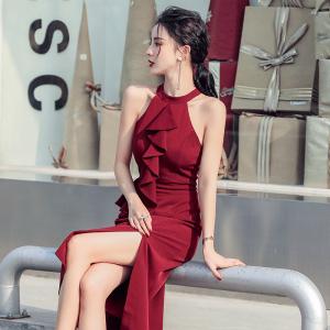 YF41791# 夏季新款泰式挂脖荷叶边修身开叉中长裙性感收腰连衣裙姐妹裙 服装批发女装直播货源