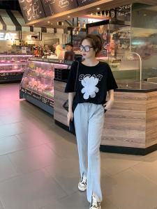 YF40891# 减龄印花短袖开叉阔腿裤套装 服装批发女装直播货源