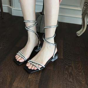 X-25221# 凉鞋新款女夏中跟时尚网红爆款水钻一字罗马凉拖时装高跟鞋 鞋子批发女鞋货源