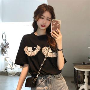 YF56124# ~夏季新款小众设计感眼睛刺绣黑色短袖T恤上衣女 服装批发女装直播货源