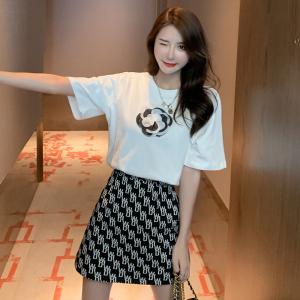YF40883# 港风套装女复古chic新款短袖T恤小香风网红炸街字母半身裙两件套 服装批发女装直播货源