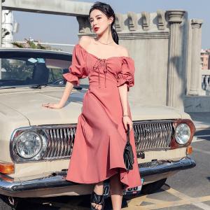 YF41784# 夏季新款法式荷叶边短袖连衣裙 服装批发女装直播货源