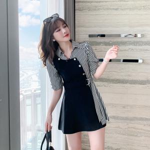 YF44584# 气质轻熟套装女神范2021年夏装新款条纹衬衫连衣裙阔腿短裤两件套