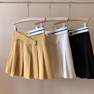 YF51066# 夏季新款时尚高腰显瘦学院风A字百褶裙