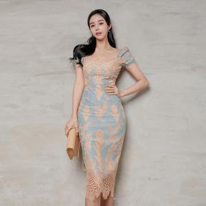 YF41255# 新款韩版气质修身泡泡短袖名媛蕾丝包臀连衣裙 服装批发女装货源