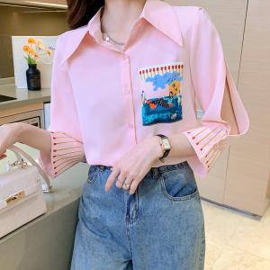 YF42074# 夏季新款港版女装百搭气质粉色插画设计感小众雪纺衬衫 服装批发女装直播货源