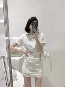 YF56149# 韩几几夏款新款糖果色抽绳百搭纯棉休闲套装裙