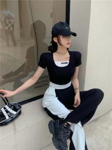 YF56479# 韩版假两件拼接圆领短款t恤上衣+黑白双色拼接阔腿西裤