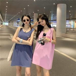 CX5400# 最便宜服装批发 韩版宽松中长款字母刺绣遮肉减龄下衣失踪背心T恤女