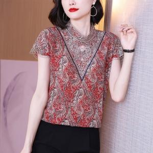 YF41507# 复古红色短袖真丝衬衫夏刺绣镂空桑蚕丝大牌衬衣女士印花上衣