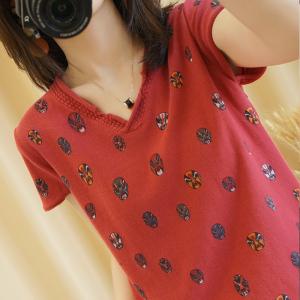 YF41485# 夏季针织短袖上衣新款V领民族风棉麻t恤宽松时尚脸谱印花大码女装