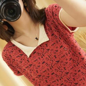 YF41486# 实价夏新款V领纯棉针织短袖女t恤宽松短款打底上衣棉半袖