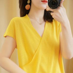 YF41487# T恤女短款V领棉麻短袖宽松纯色针织上衣新款全棉半袖裹胸显瘦