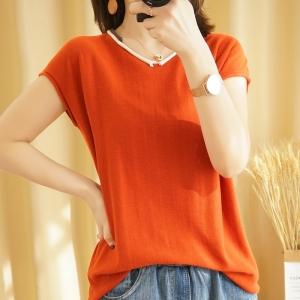 YF41488# 纯棉t恤女夏款针织短袖薄款纯色百搭V领半袖宽松打底上衣
