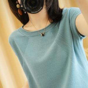YF41491# 纯棉圆领针织短袖女夏款百搭半袖上衣棉麻宽松气质范T恤