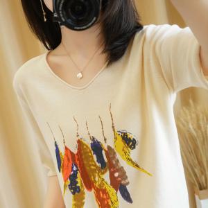 YF41492# 100%纯棉针织T恤衫女V领中袖印花半袖打底衫宽松套头背心上衣