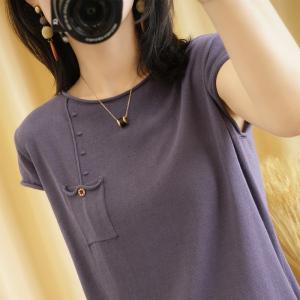YF41493# 100%纯棉短袖针织衫女圆领T恤衫半袖宽松短款上衣女全棉t恤衫