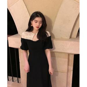 YF54252# 黑白拼接蕾丝连衣裙女法式复古赫本风心机小黑裙 服装批发女装直播货源