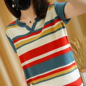 YF41495# 夏款v领条纹短袖女100%纯棉针织半袖宽松上衣T恤棉麻大码