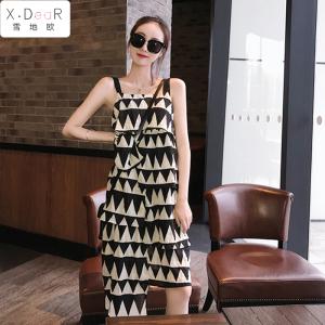 YF54251# 很仙的法国小众连衣裙流行裙子法国复古裙山本风一字领吊带裙 服装批发女装直播货源