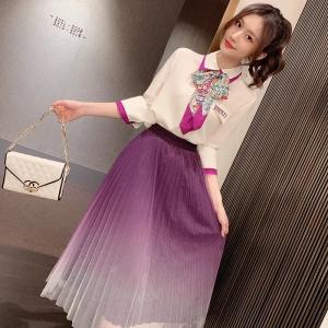 YF44271# 女神范连衣裙2021春夏设计感蝴蝶结衬衫网纱半身裙两件套装
