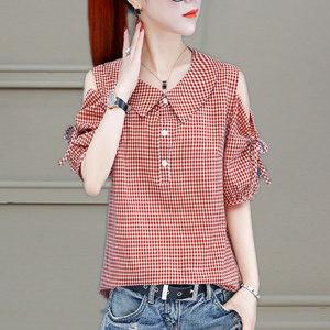 YF44547# 新款衬衫女夏季薄款短袖露肩轻熟设计感小众格子衬衣上衣潮 服装批发女装直播货源