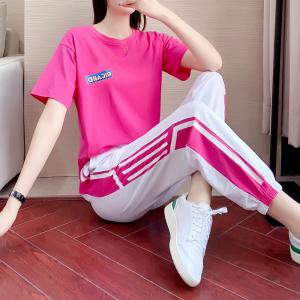 YF42456#休闲运动套装女夏季新款韩版宽松潮牌时尚嘻哈粉色短袖两件套 服装批发女装直播货源