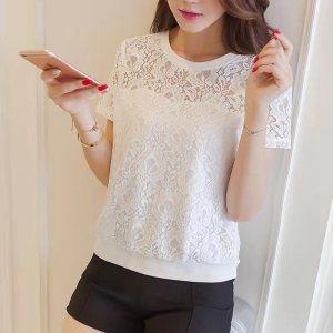 YF43698# 雪纺衫女夏装新款白色圆领t恤打底衫内搭蕾丝小衫短袖上衣棉 服装批发女装直播货源