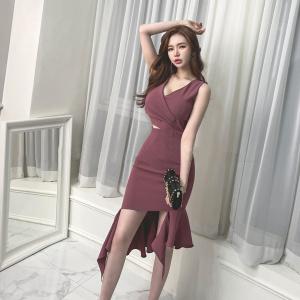 YF42845# 新款女装性感不规则鱼尾修身连衣裙