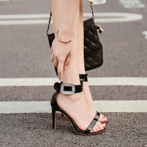 X-25718# 夏季高大上水钻方扣装饰漆皮时装凉鞋做黑色35-40码 鞋子批发女鞋货源