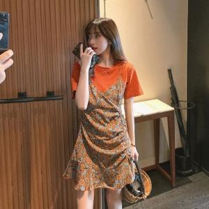 YF54253# 夏季新款小个子法式碎花吊带连衣裙女可盐可甜拼接假两件裙子 服装批发女装直播货源