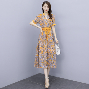 YF42604# 新款2021春夏装气质显瘦V领中长款真丝雪纺收腰连衣裙女