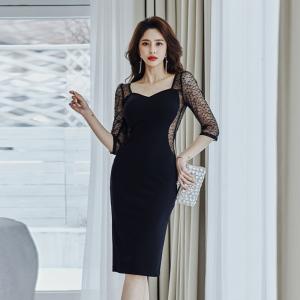 YF45177# 新款时尚性感蕾丝透视连衣裙包臀裙 服装批发女装直播货源