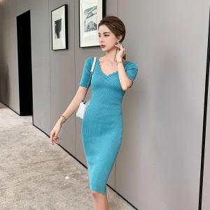 YF44579# 小性感针织薄鱼尾摆修身中长款连衣裙 服装批发女装直播货源