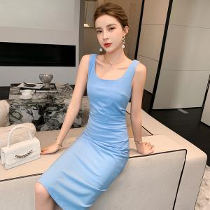 YF42848# 法式连衣裙显瘦方领中长款包臀连衣裙