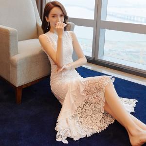 YF42590# 蕾丝连衣裙女...