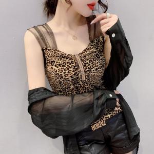 YF46717# 夏季新款双层网纱无袖吊带背心烫钻百搭时尚小衫个性圆领女潮 服装批发女装直播货源