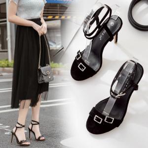 X-25719# 夏季高端皮带扣装饰高跟罗马凉鞋做黑色35-40码 鞋子批发女鞋货源
