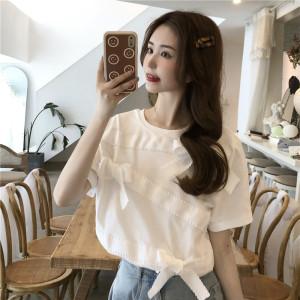 YF56125# 减龄甜美蝴蝶结短袖T恤夏季新款设计感小众百搭上衣 服装批发女装直播货源