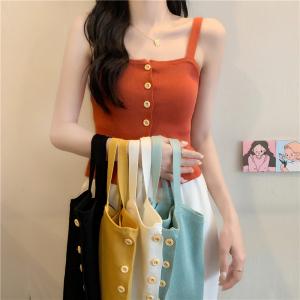 YF42830# 韩版chic百搭纯色单排扣小吊带显瘦短款针织背心女