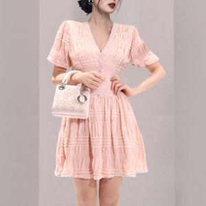 YF42849# 新款女装V领收腰显瘦大摆连衣裙