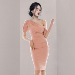 YF44580# 新款女装露肩收腰显瘦包臀连衣裙 服装批发女装直播货源