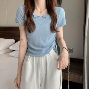 YF49017# 新款露脐抽绳短款设计感高腰V领短袖T女 服装批发女装直播货源