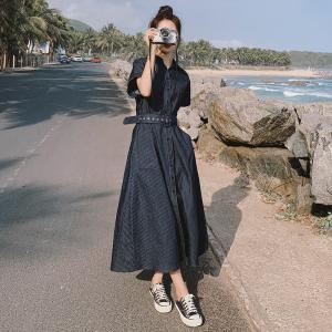 YF46235# 法式复古蓝色条纹衬衫连衣裙女装新款夏装气质修身长裙 服装批发女装直播货源