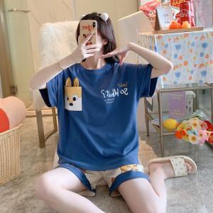 YF43097# 果子狸夏季女款精梳棉夏季短袖睡衣女套装M-XXL 服装批发女装直播货源