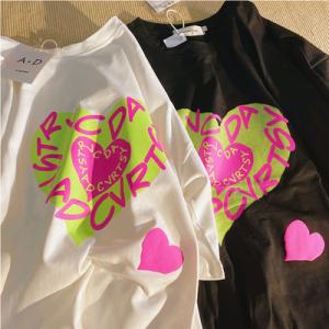 CX5403# 最便宜服装批发 爱心短袖T恤女夏季新款韩版宽松